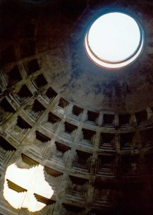 Inside the Pantheon - the image of sunshine pouring into the dark space stays with me (as well as the Batman masque it forms)