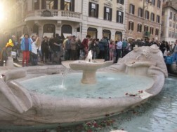 Barcaccia fountain in Piazza di Spagna - perfect for enjoying an ice cream or resting your weary feet.