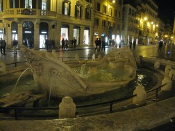 The Fontana della Barcaccia at the foot of the Spanish Steps