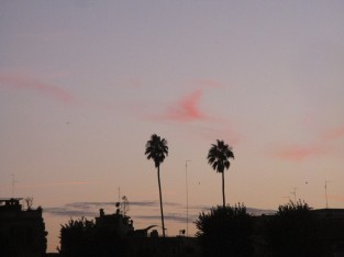The last traces of blush pink disappear above the Forum.