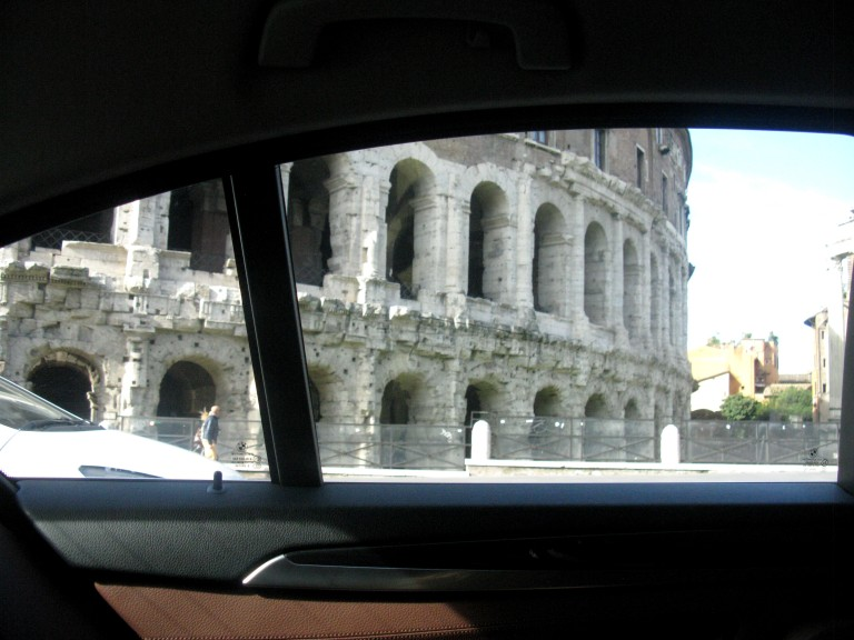Teatro Marcello from car