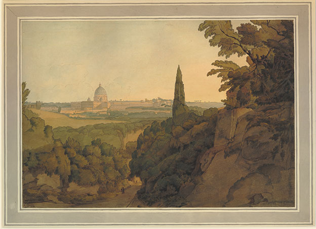 Francis Towne (1739-1816), St Peter's at sunset, from above the Arco Oscuro, 1781. Watercolour with pen and ink and gum arabic, 320 x 467 mm