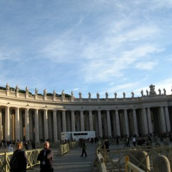 Two colonnades forming a circile from the basilica represent the motherly arms of the Catholic church