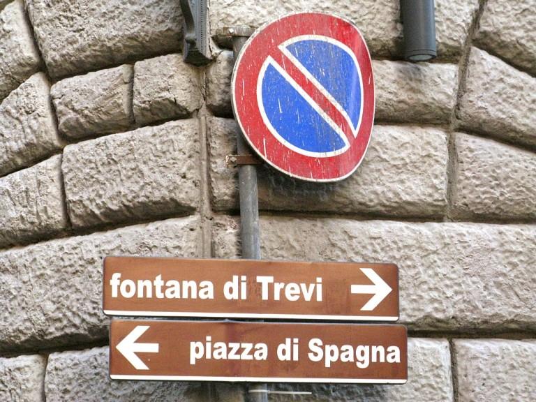 Trevi signpost