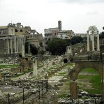 Forum looking towards the Colosseum from foot of Capitoline Hill