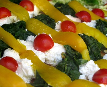 Pizza topping Italian flag colours