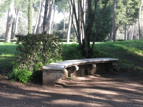 A quiet bench to catch the sun in the Borghese Gardens