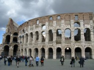 Colosseum with storm clouds