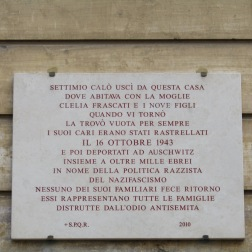 Plaque remembering those deported by the Nazis, Jewish Quarter, Rome