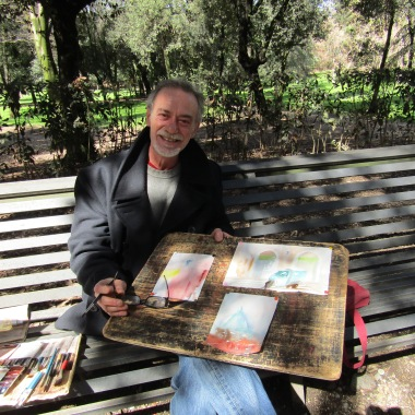 Claudio shows off his work for sale in Borghese Gardens